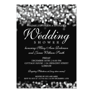 Elegant Couples Shower Silver Lights 13 Cm X 18 Cm Invitation Card