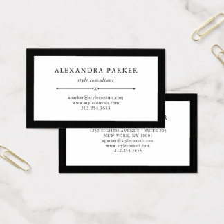 Elegant Couture | Black and White Business Card