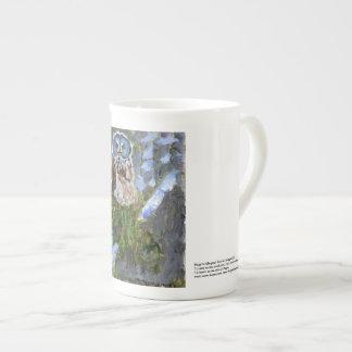 Elegant cranky blue-faced owl mug