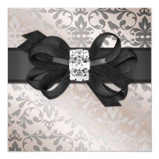 """Elegant Cream and Silver Invitation with Bow 5.25"""" Square Invitation Card"""