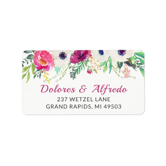 Elegant Cream Purple Watercolor Floral Label
