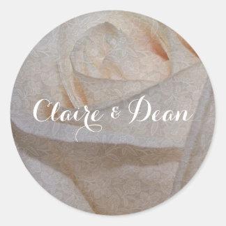 Elegant Cream Rose Wedding Envelope Seal Stickers