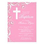 Elegant Cross Baby Girl Baptism Christening Custom Announcements