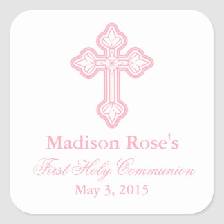 Elegant Cross First Communion Party Favor Labels Square Sticker