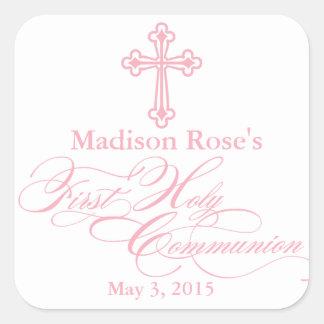 Elegant Cross First Communion Party Favour Labels Square Sticker
