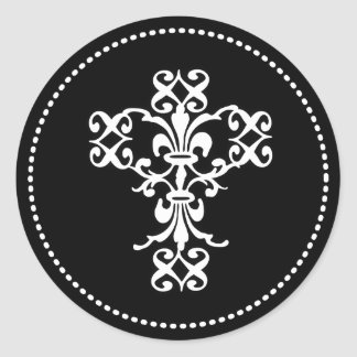 Elegant Cross in Black and White Round Sticker