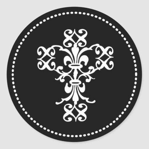 Elegant Cross in Black and White Round Stickers