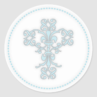 Elegant Cross in Blue Classic Round Sticker