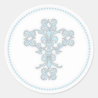 Elegant Cross in Blue Round Sticker