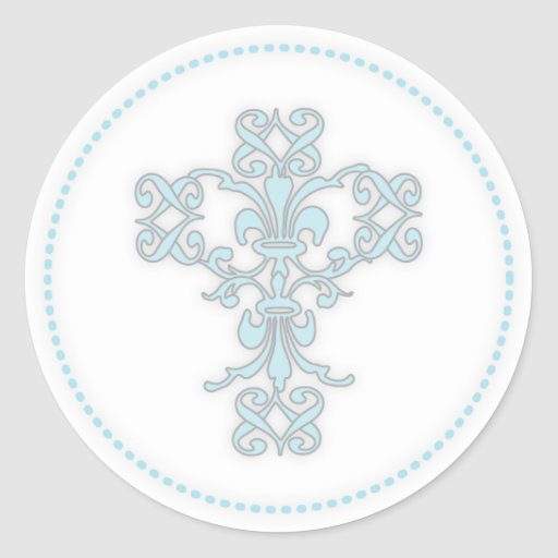 Elegant Cross in Blue Round Stickers