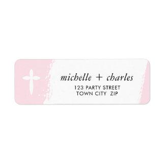 ELEGANT CROSS stylish brush stroke baby pink Return Address Label