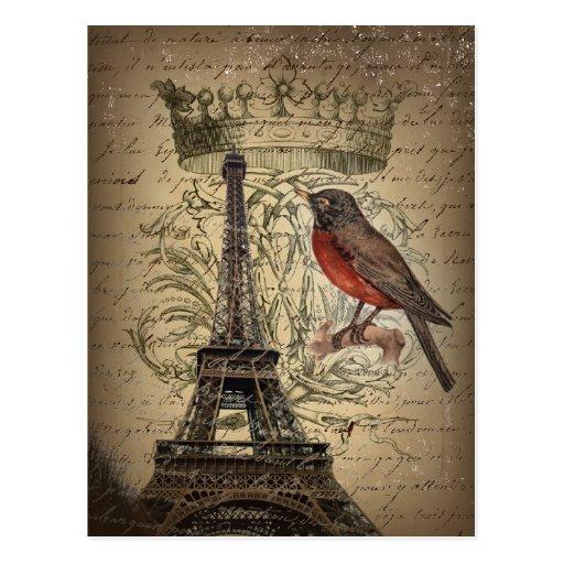 elegant crown robin eiffel tower paris Vintage Postcard