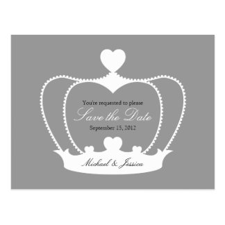 Elegant Crown Save the Date Postcard - Gray