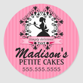 Elegant Cupcake Bakery Lady Silhouette Pink Round Stickers