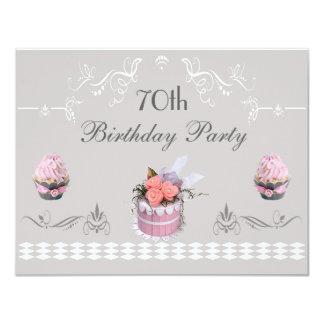 Elegant Cupcakes Pink & Grey 70th Birthday 11 Cm X 14 Cm Invitation Card