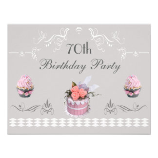 Elegant Cupcakes Pink & Grey 70th Birthday Announcements