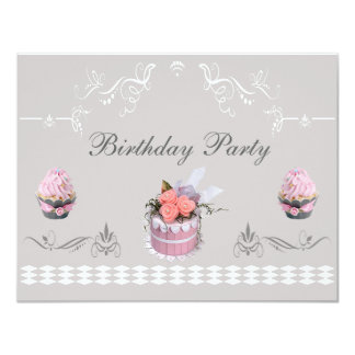 Elegant Cupcakes Pink & Grey Birthday Party Card