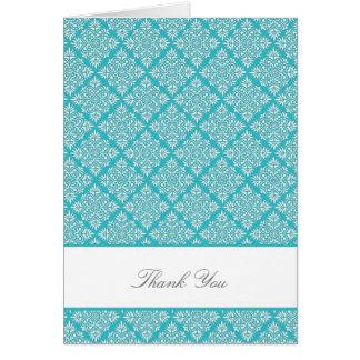 Elegant Curacao Blue Damask Thank You Card