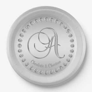 Elegant Custom Diamond Silver Monogram Wedding 9 Inch Paper Plate