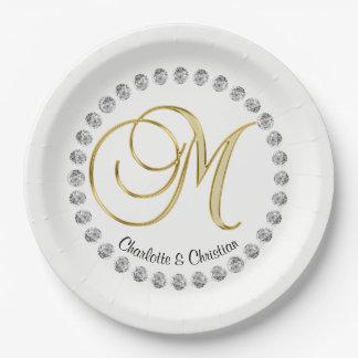 Elegant Custom Faux Diamond Monogram Wedding Paper Plate