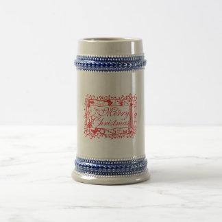 Elegant Custom Merry Christmas Floral Pattern Card Coffee Mug