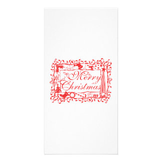 Elegant Custom Merry Christmas Floral Pattern Card Photo Card Template