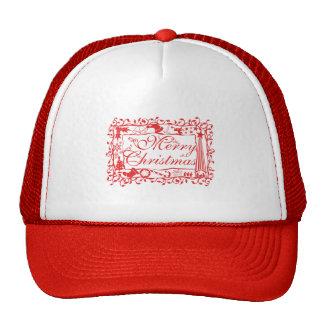 Elegant Custom Merry Christmas Floral Pattern Mugs Mesh Hats