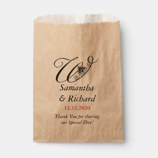 Elegant Custom Monogram W | Wedding Thank You Favour Bags
