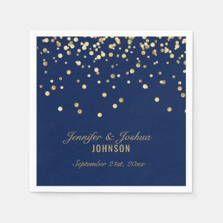 Elegant Custom NAVY BLUE Gold Confetti Wedding Disposable Napkins