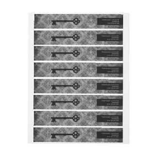 Elegant custom personalized gray damask old key wraparound return address label