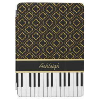 Elegant Custom Piano Keys with Gold Quatrefoil iPad Air Cover