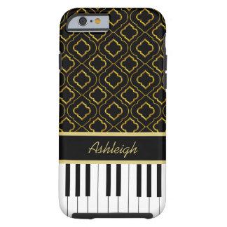Elegant Custom Piano Keys with Gold Quatrefoil Tough iPhone 6 Case
