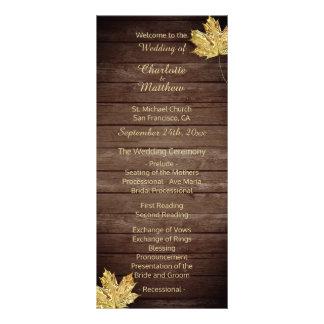 Elegant Custom Rustic Maple Leaf Wedding Programs Rack Card