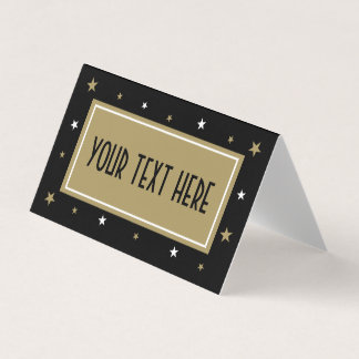 Elegant Custom Table Tent with gold stars Card