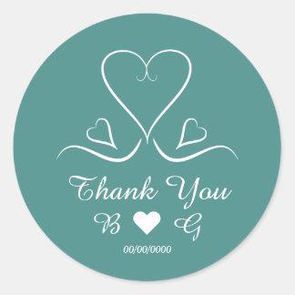 Elegant Custom Teal Wedding Heart Thank You Round Sticker
