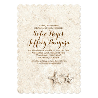 elegant cute beach engagement party invitations
