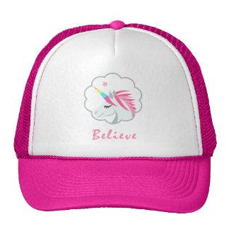 elegant cute believe in unicorns emoji cap