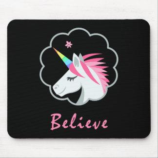 elegant cute believe in unicorns emoji mouse pad
