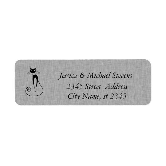 Elegant cute funny cat linen return address label