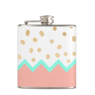 elegant cute gold foil polka dots mint and pink hip flask