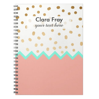 elegant cute gold foil polka dots mint and pink notebook