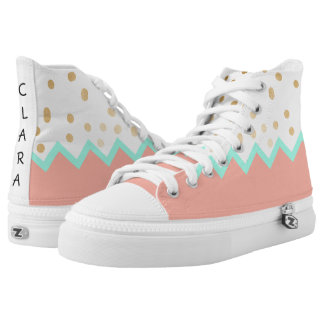 elegant cute gold foil polka dots mint and pink printed shoes