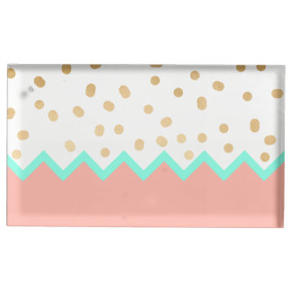 elegant cute gold foil polka dots mint and pink table card holder