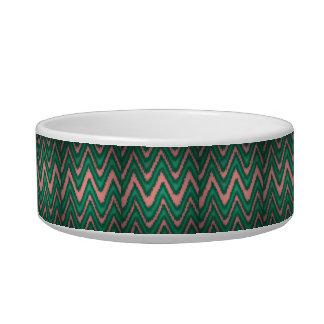 elegant cute modern chevron green peach blue cat bowls