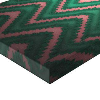 elegant cute modern chevron green pink peach stretched canvas print