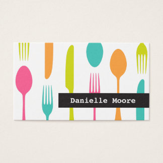 Elegant cutlery catering or chef business cards