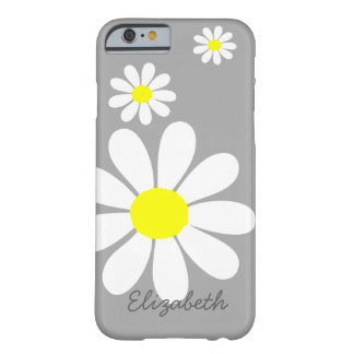 Elegant Daisies Floral Illustration Gray White Barely There iPhone 6 Case