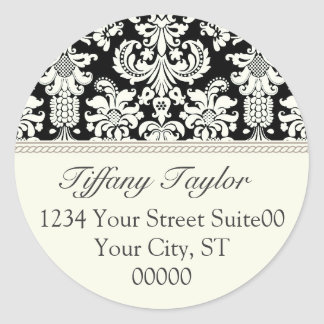 Elegant Damask Address Sticker