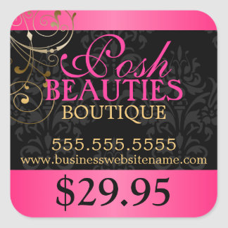 Elegant Damask and Gold Swirls Price Tag Stickers