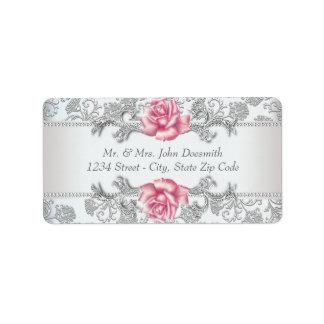 Elegant Damask and Pink Rose Address Labels